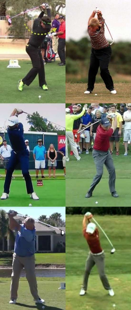 A collage of golfers who have over-swings, or longer backswings