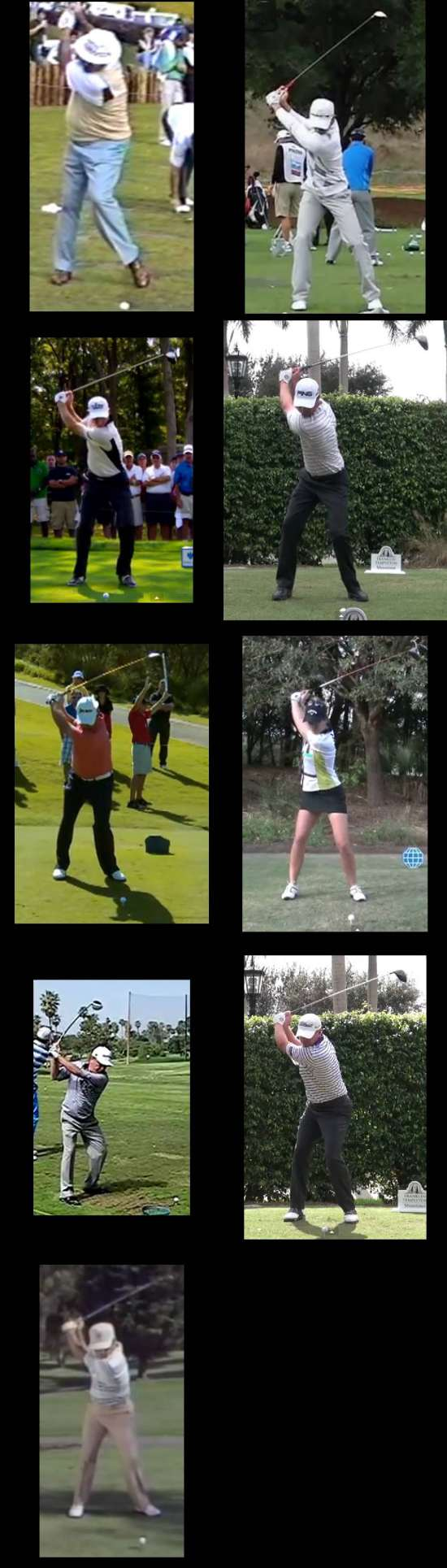 collage of golfers swinging the club short of parallel