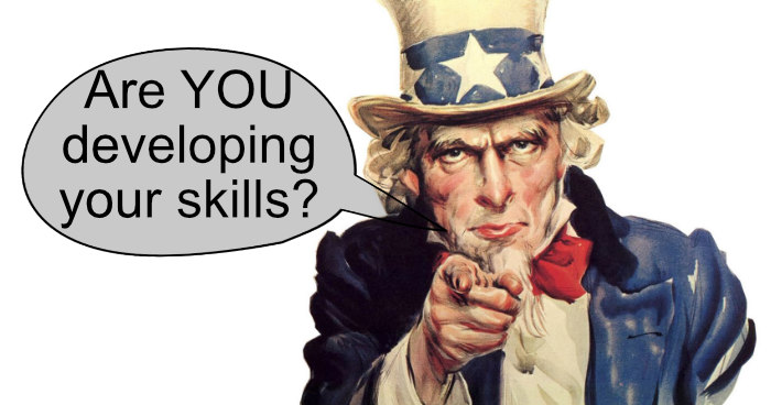 Uncle Sam asking if you are developing your golf skills