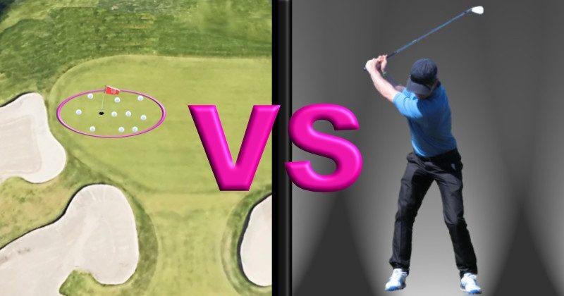 a golf swing and good golf shot pattern